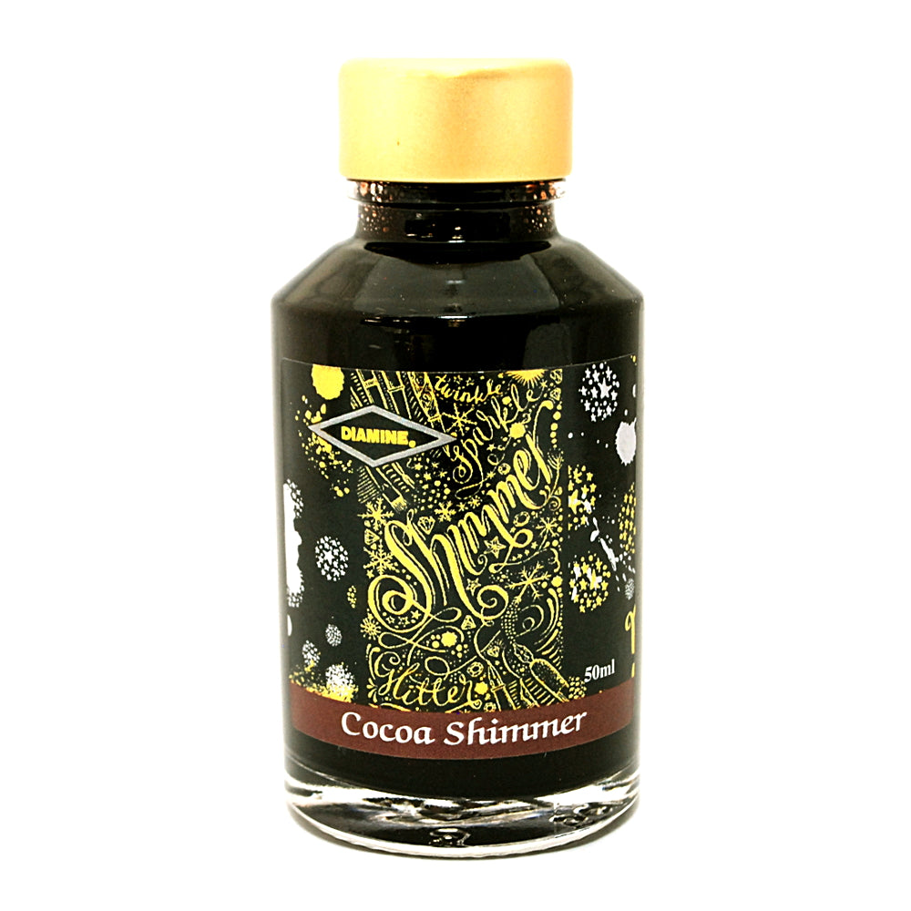 Diamine Shimmertastic Cocoa Shimmer fountain pen ink is available in a 50ml glass bottle.