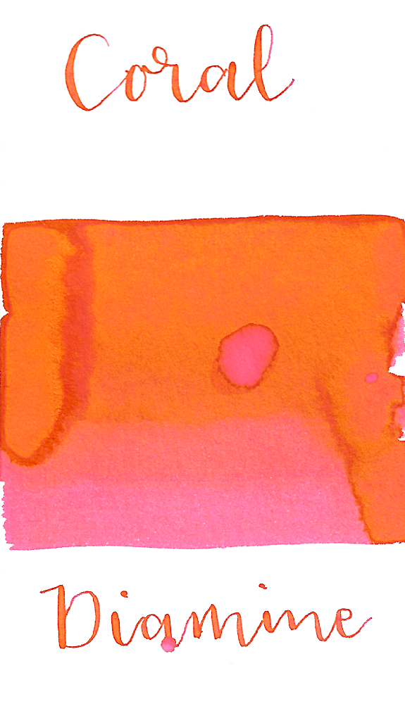 Diamine Coral is a bright orangey-pink fountain pen ink with low shading.