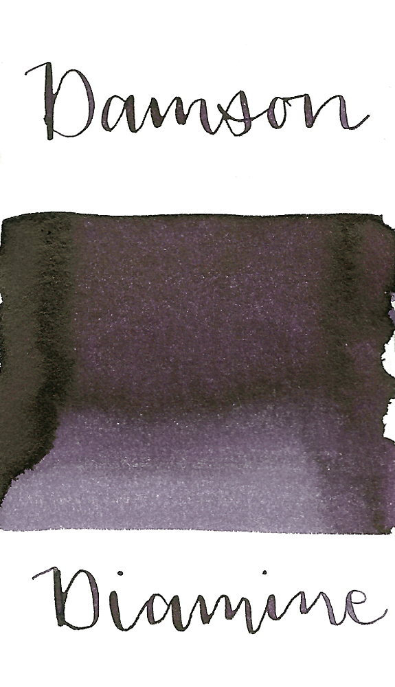 Diamine Damson is a dark, wintery purple fountain pen ink with low shading and high black sheen.