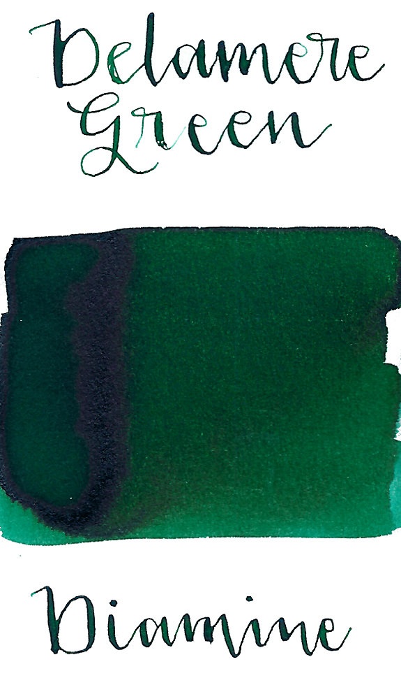 Diamine Delamere Green is a dark, classic green fountain pen ink with medium shading.