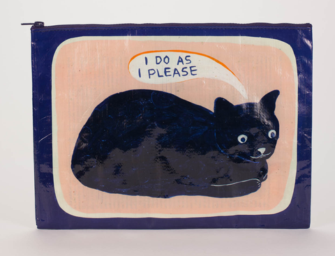 "Blue Q Jumbo Zippered Pouch ""I Do As I Please"""