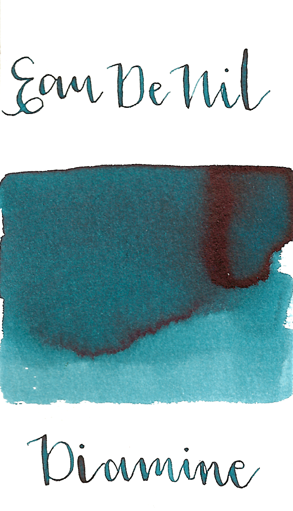 Diamine Eau de Nil is a dark teal fountain pen ink with medium shading and low black sheen.