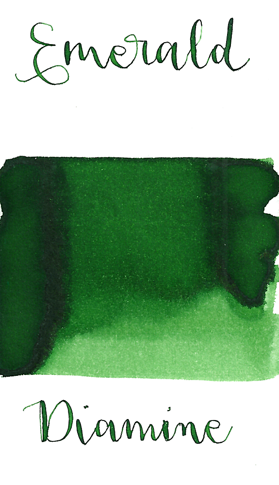 Diamine Emerald is a medium green fountain pen ink with medium shading.