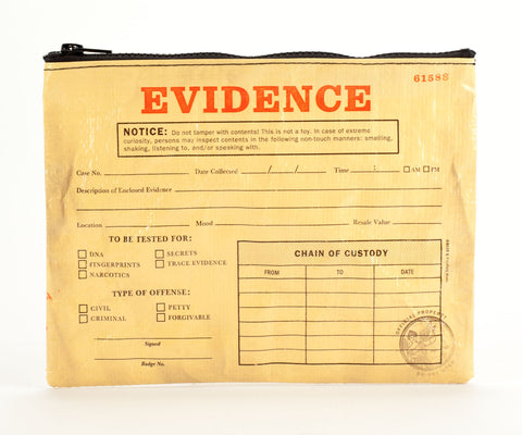 "Blue Q Zippered Pouch ""Evidence"""