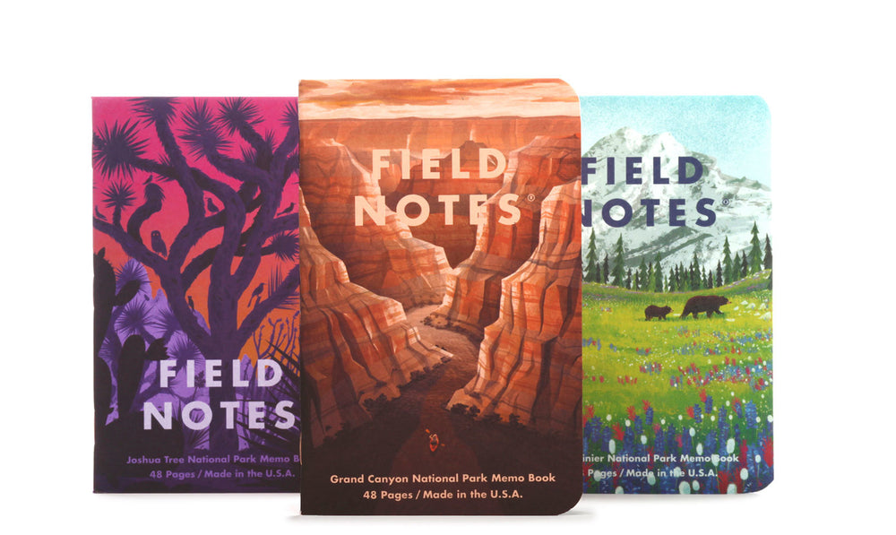 Field Notes National Parks Grand Canyon, Joshua Tree and Mount Rainier