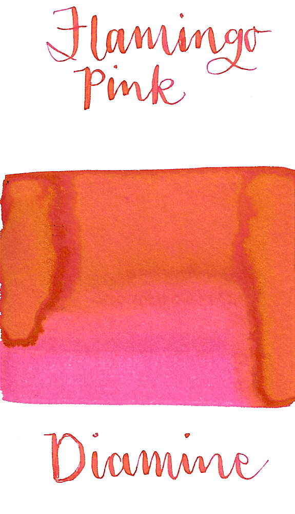 Diamine Flamingo Pink is a vibrant summery pink fountain pen ink with a pop of gold sheen, especially in large swabs.
