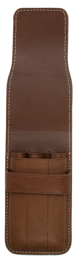 Galen Leather Co. Flap Pen Case for 3 Pens- Brown