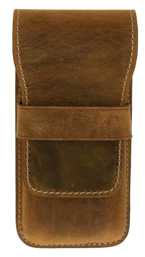 Galen Leather Co. Flap Pen Case for 3 Pens- Crazy Horse Brown