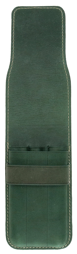 Galen Leather Co. Flap Pen Case for 3 Pens- Crazy Horse Forest Green
