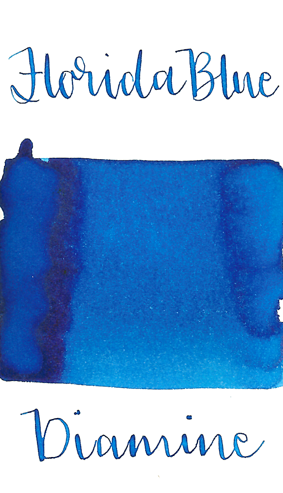 Diamine Florida Blue is a cool summer blue fountain pen ink with low shading.