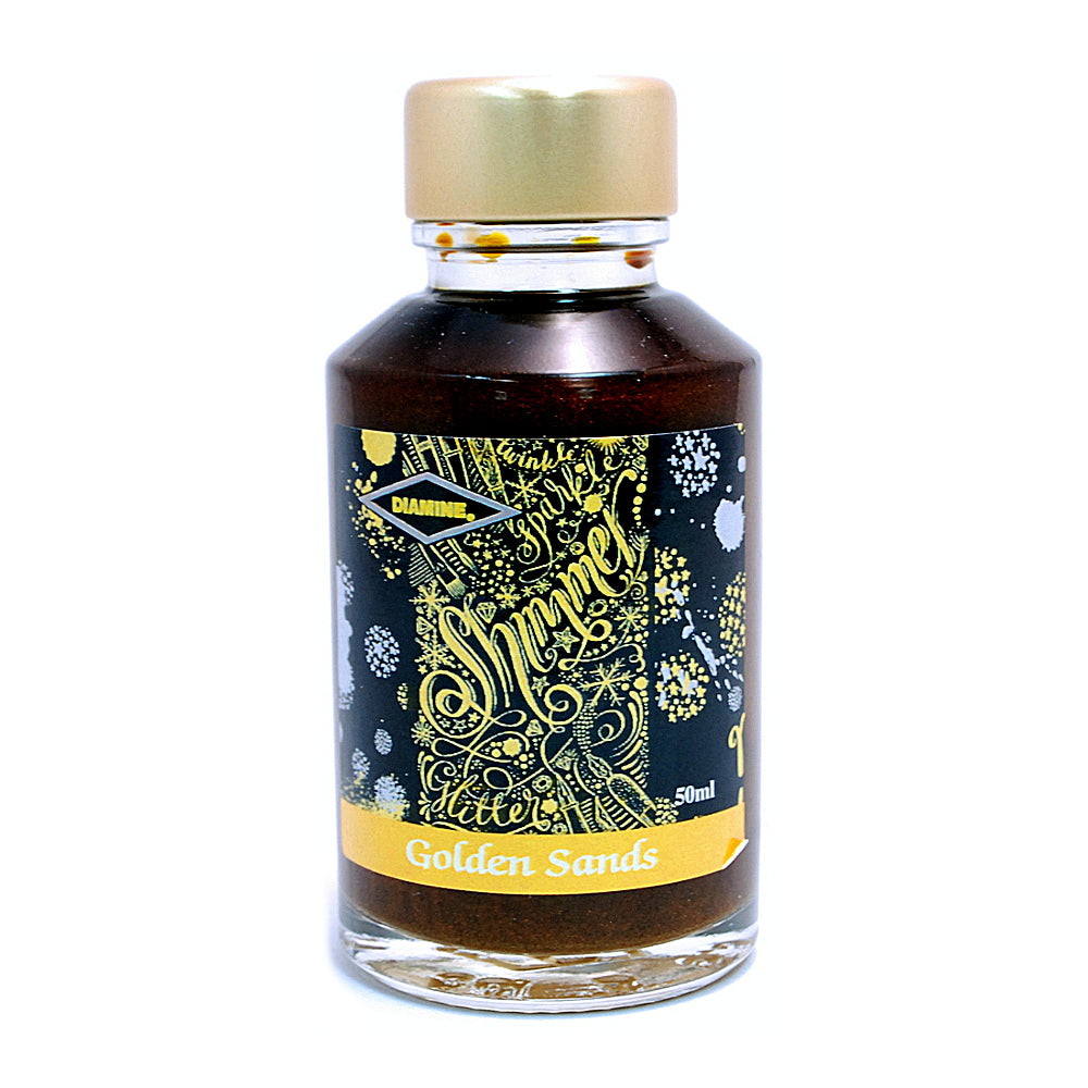 Diamine Shimmertastic Golden Sands fountain pen ink is available in a 50ml glass bottle.