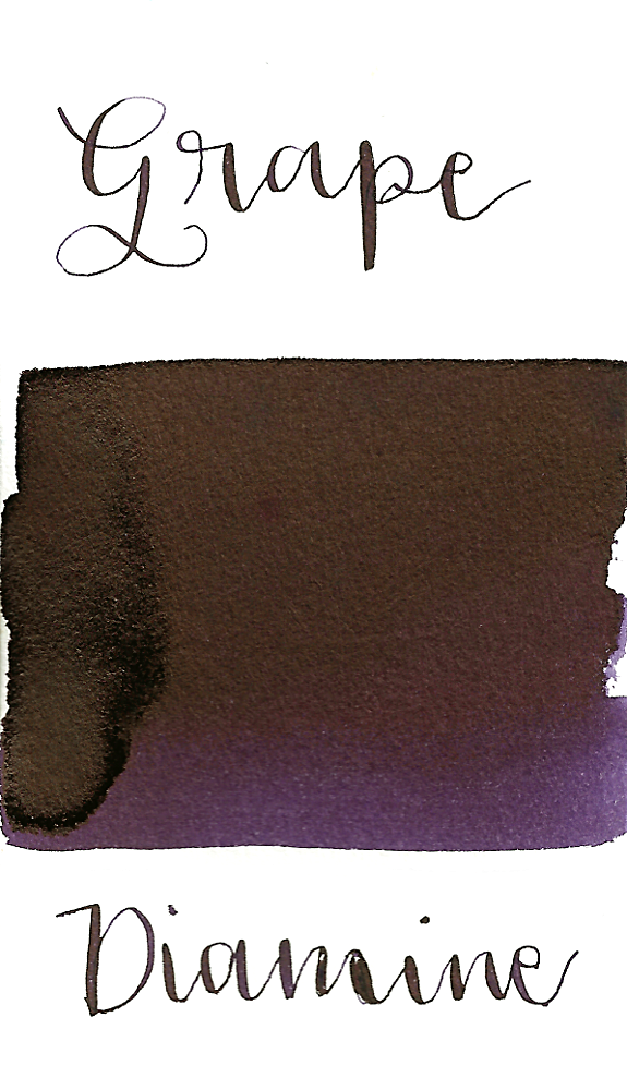 Diamine Grape is a dark purple fountain pen ink with medium shading and medium gold sheen.