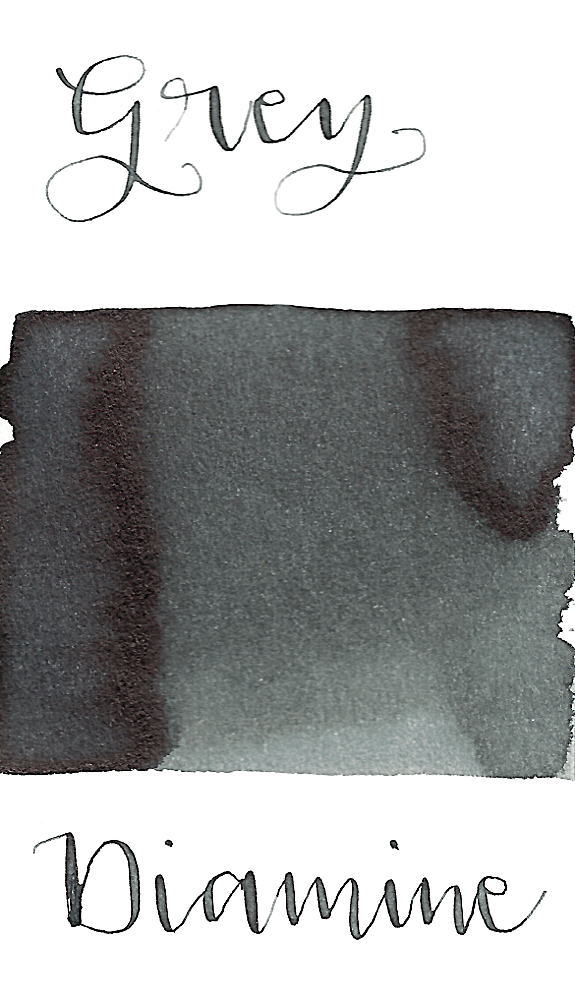 Diamine Grey is a medium neutral grey fountain pen ink with low shading.