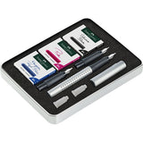 Faber Castell Grip Fountain Pen Calligraphy Set- Silver