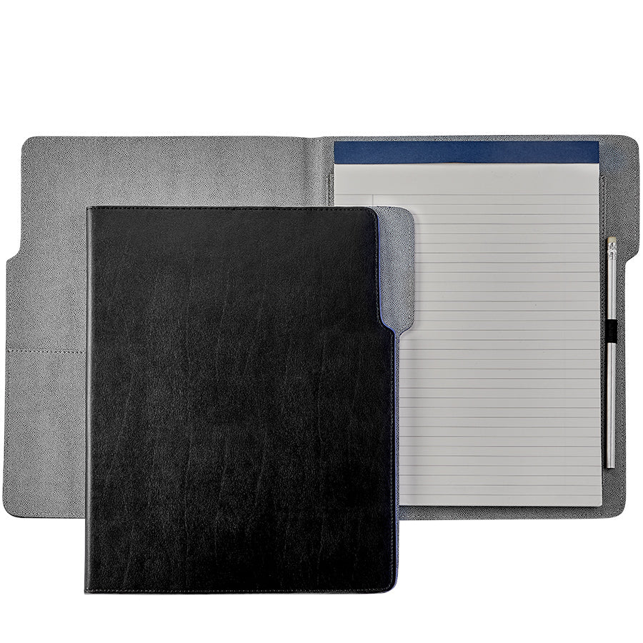 Graphic Image Hugo Portfolio- Black Bonded Leather, Grey Interior