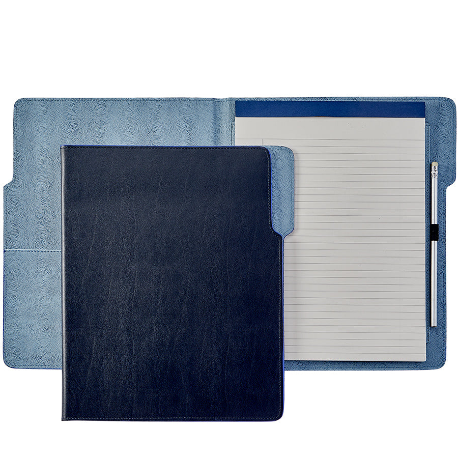 Graphic Image Hugo Portfolio- Navy Bonded Leather, Blue Interior