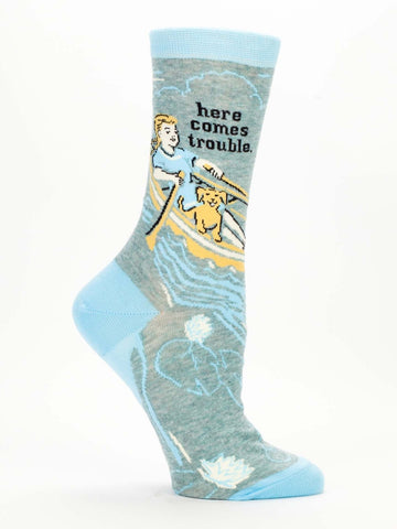 Blue Q Women's Crew Socks, Here Comes Trouble