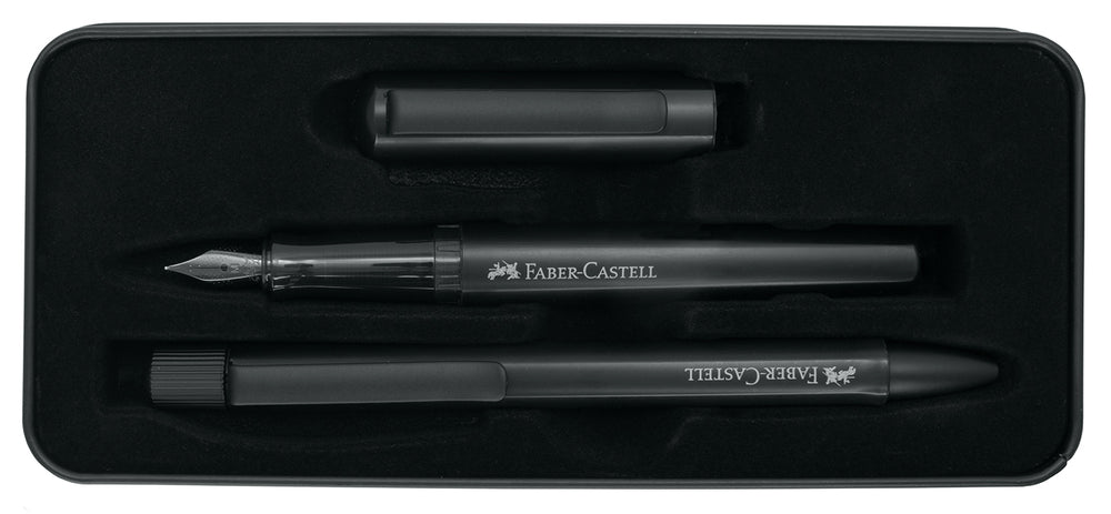 Faber-Castell Hexo Black Fountain Pen & Ballpoint Gift Set