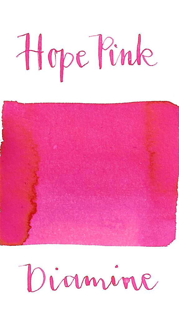 Diamine Hope Pink is a bright pink fountain pen ink with low shading.
