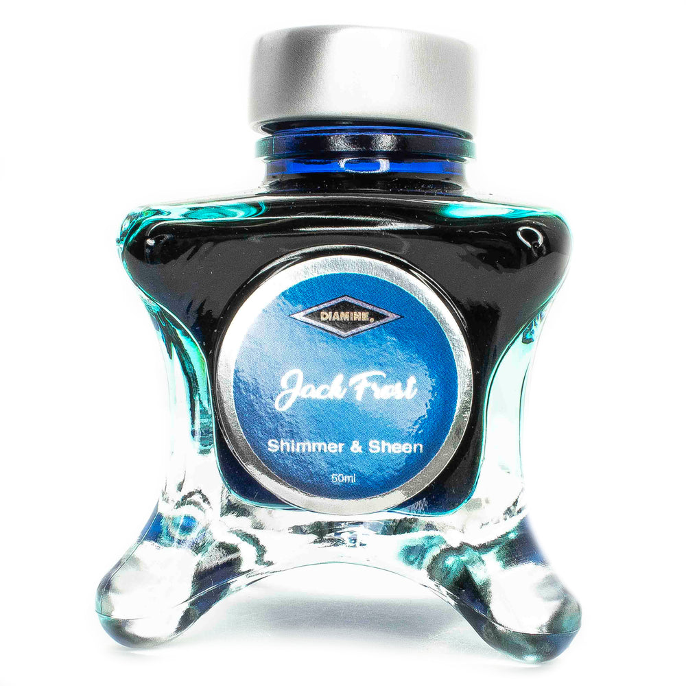 Diamine Blue Edition inks are available in 50ml glass bottle that features a whimsical shape.