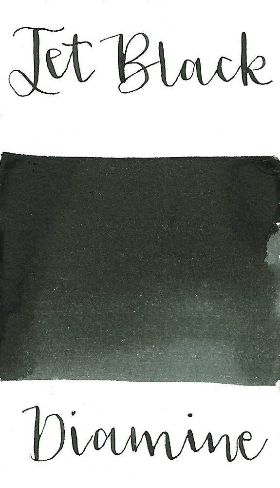 Diamine Jet Black is a standard black ink fountain pen ink with low shading.