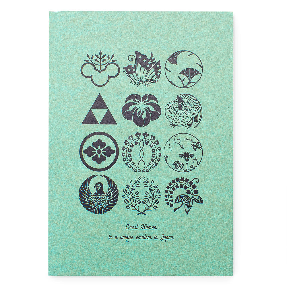 Kawachiya Paper Lab Kamon Letterpress Notebook A5- Mint