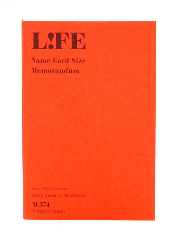 Life Stationery Name Card size Memo Pad- Orange