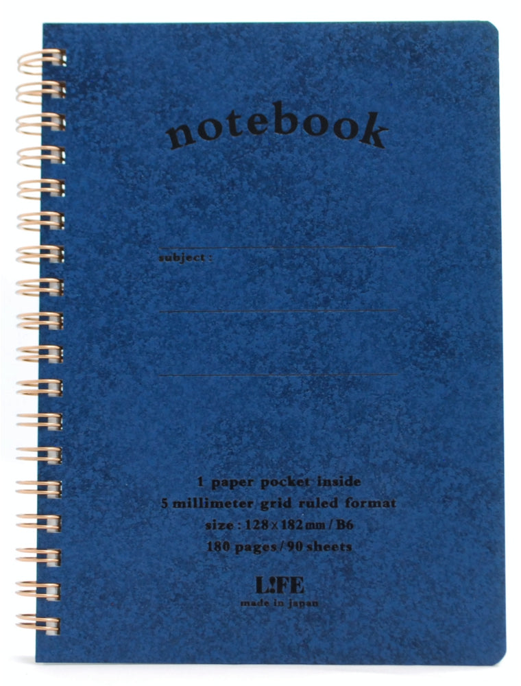 Life Stationery B6 Spiral Notebook Blue