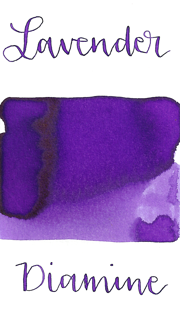 Diamine Lavender is a vibrant cool-toned purple fountain pen ink with medium shading