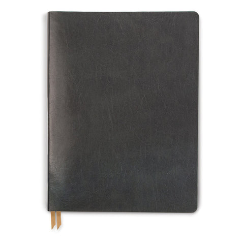 DesignWorks Medium Charcoal Bonded Leather Grid Journal