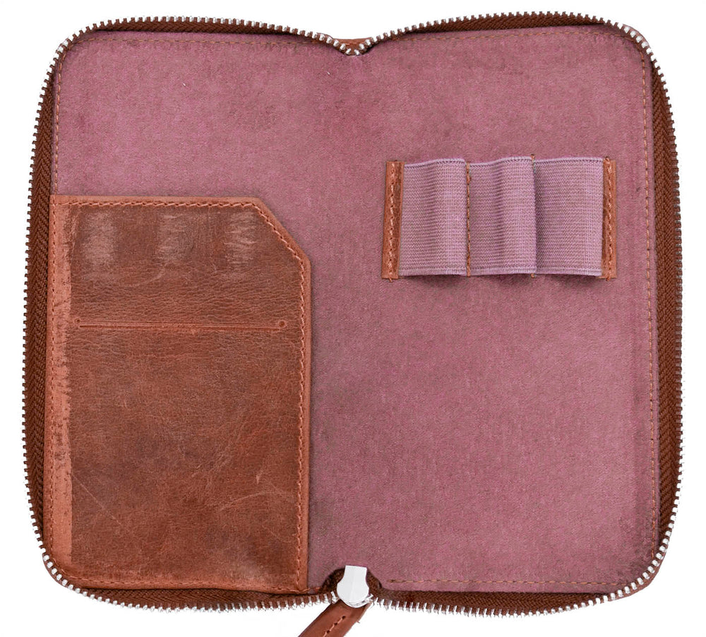 Galen Leather Co. Zippered 3 Slot Pen Case- Crazy Horse Orange