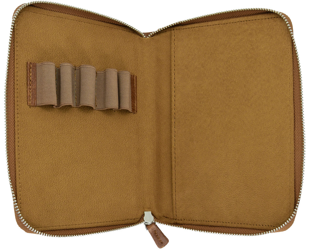 Galen Leather Co. Zippered 5 Slot Pen Case- Rustic Brown