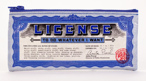 "Blue Q Pencil Pouch ""License"""