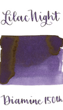 Diamine Lilac Night is a dark cool-toned violet fountain pen ink with medium shading.