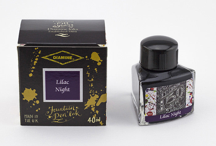 Diamine Lilac Night fountain pen ink is available in a triangular shaped 40ml bottle.