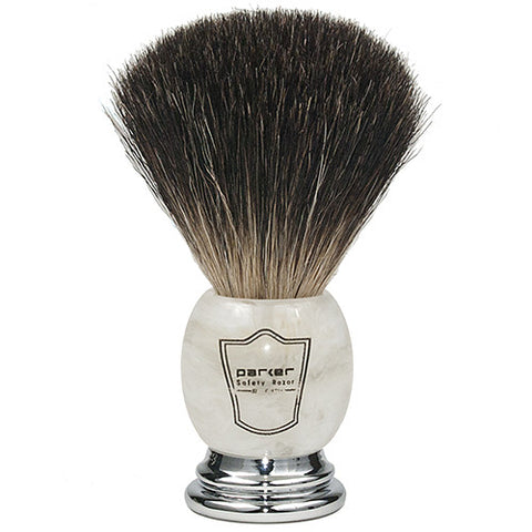 Parker Shaving Marbled Ivory Handle Black Badger Brush
