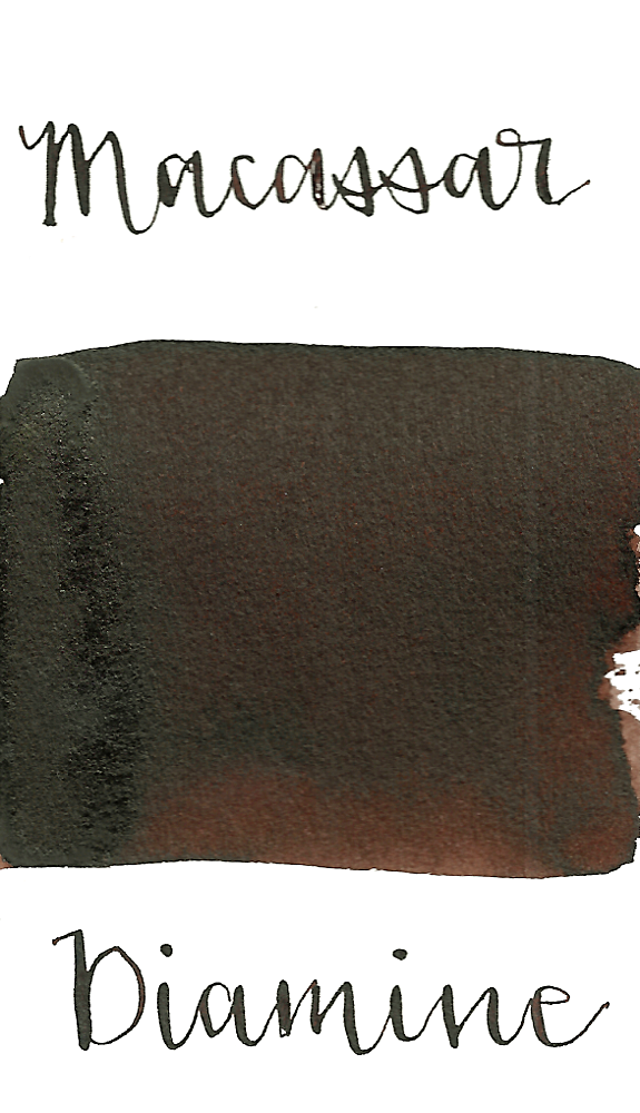 Diamine Macassar is a dark, saturated brown fountain pen ink with low shading and low black sheen.