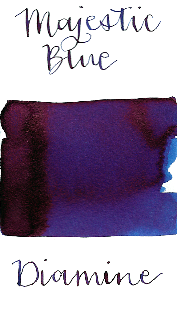 Diamine Majestic Blue is a gorgeous deep blue fountain pen ink with high red sheen.