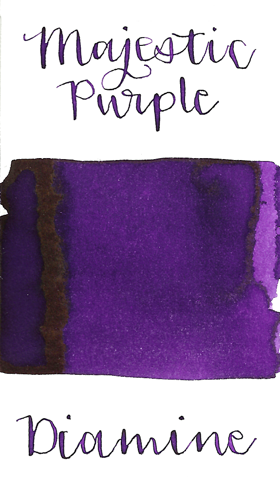 Diamine Majestic Purple is a pretty, dark purple fountain pen ink with low shading and slight gold sheen, especially in large swabs.