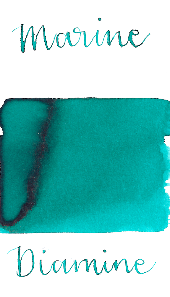 Diamine Marine is a must-have turquoise fountain pen ink with medium shading.