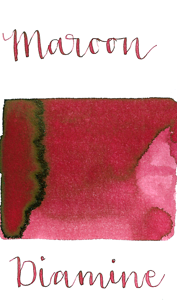 Diamine Maroon is a desaturated red fountain pen ink with a pop of black sheen in large swabs.