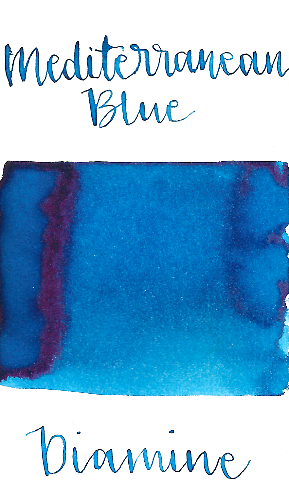Diamine Mediterranean Blue is a medium summery blue fountain pen ink with low shading and a pop of red sheen, especially in large swabs.