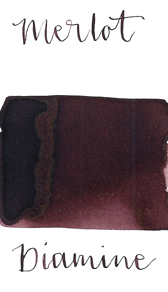 Diamine Merlot is a dark wine purple fountain pen ink with low shading.