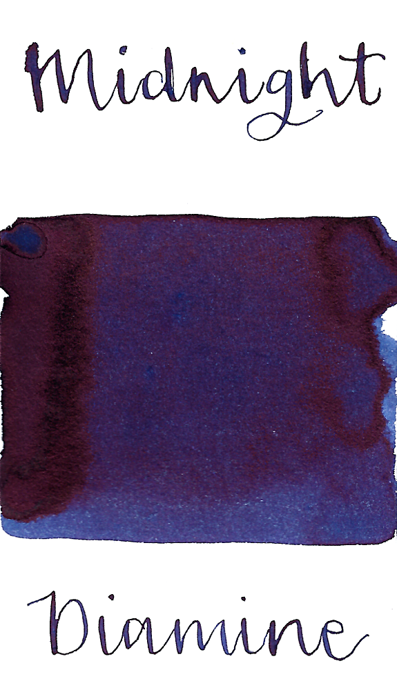 Diamine Midnight is a dark intense blue black fountain pen ink with high red-black sheen.