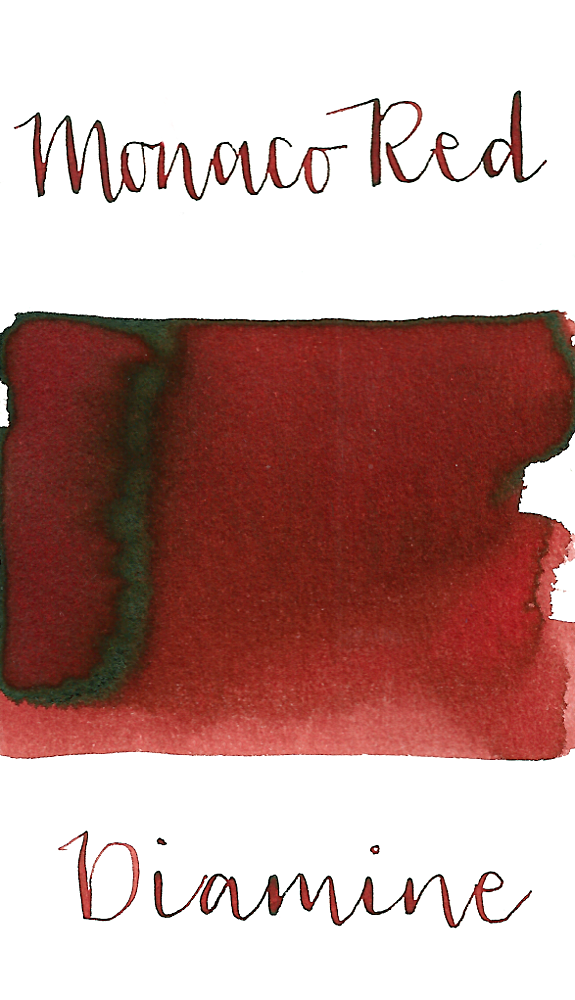 Diamine Monaco Red is a dark muted red fountain pen ink with low shading and black sheen, especially in large swabs.
