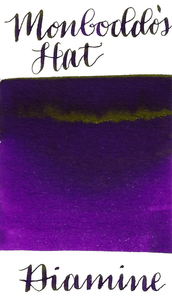Diamine Monboddos Hat is a medium velvety purple fountain pen ink with low shading and low gold sheen