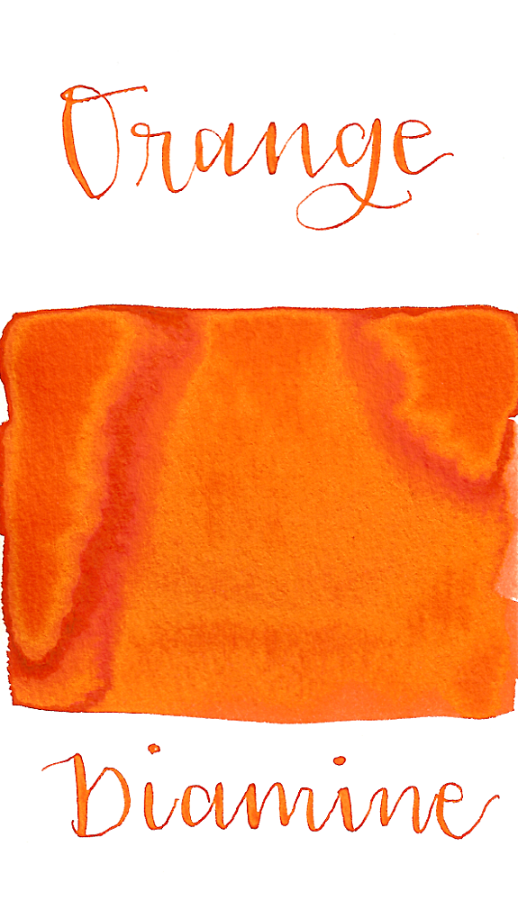 Diamine Orange is a bright orange fountain pen ink with a pop of gold sheen in large swabs only.