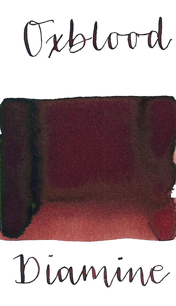 Diamine Oxblood is a deep, rich velvety red fountain pen ink with low green sheen.