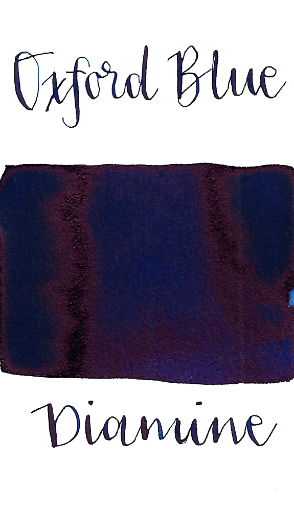Diamine Oxford Blue is a classic dark blue fountain pen ink with high pink sheen.