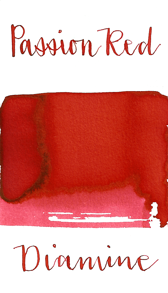 Diamine Passion Red is a mild red fountain pen ink with low shading.